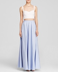 Jill Jill Stuart Sleeveless Bustier Crop Top And Faille Ball Skirt Two Piece Gown Bloomingdale's Exclusive White Ice Blue