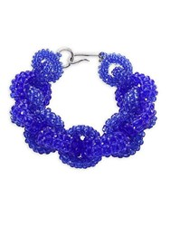 Dries Van Noten Beaded Chain Necklace Blue