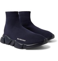 Balenciaga Speed Sock Stretch Knit Slip On Sneakers Midnight Blue