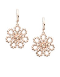Kate Spade Crsytal Lace Floral Drop Earrings Rose Gold