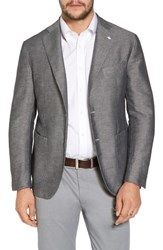 L.B.M. 1911 Classic Fit Houndstooth Linen And Cotton Sport Coat Light Pastel Grey