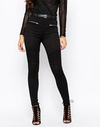 Missguided Sinner Highwaisted Skinny Biker Jean Black