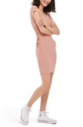 Topshop Women's Lace Up Side Body Con Dress Pink