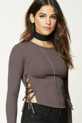 Forever 21 Ribbed Knit Lace Up Crop Top Walnut