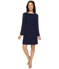 Vince Camuto Crepe Chiffon Shirt Dress W Overlay Pleated Sleeves Navy Women's Dress