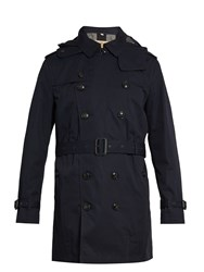 Burberry Delsworth Double Breasted Cotton Trench Coat Navy