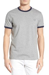 Fred Perry Men's Extra Trim Fit Cotton Ringer T Shirt Steel Marl