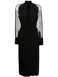 Balmain Polka Dot Sleeve Dress Black
