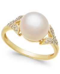 Honora Style Cultured Freshwater Pearl 9Mm And Diamond Accent Ring In 14K Gold White