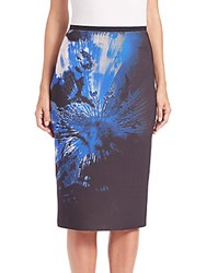 Elie Tahari Violet Neo Floral Pencil Skirt Multicolor