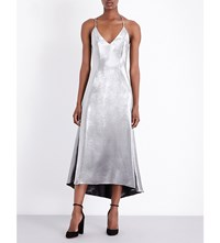 Racil Metallic Silk Blend Slip Dress Silver