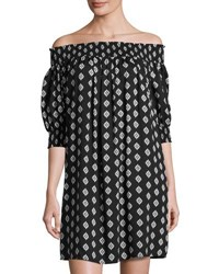 Philosophy 3 4 Sleeve Off The Shoulder Dress Black Pattern