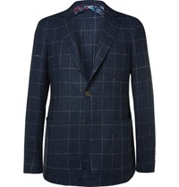 Etro Blue Slim Fit Checked Slub Linen And Silk Blend Blazer Navy