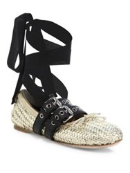 Miu Miu Belted Woven Metallic Leather Ankle Wrap Ballet Flats Oro