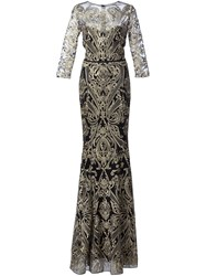 Marchesa Notte Embroidered Gown Black