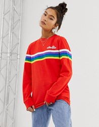 Ellesse Long Sleeve T Shirt With Chest Logo And Rainbow Stripe Red