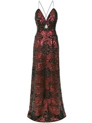 Tufi Duek Sequin Embroidered Gown Polyester