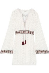 Talitha Woman Embroidered Crocheted Cotton Mini Dress White