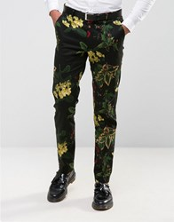 Asos Skinny Smart Trousers In Floral Print Black