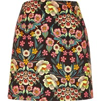 River Island Womens Pink Retro Floral Print Mini Skirt