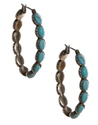 Lucky Brand Silvertone Turquoise Hoop Earrings Turquoise Silver