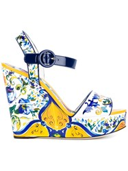 Dolce And Gabbana Bianca Wedge Sandals Multicolour