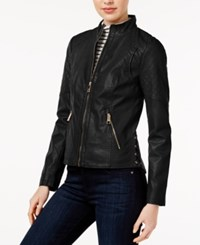 Guess Faux Leather Corset Jacket Black