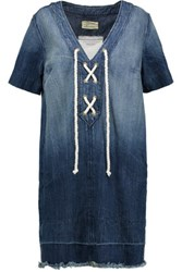 Current Elliott The All Laced Up Frayed Denim Mini Dress Mid Denim