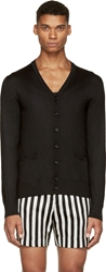 Dolce And Gabbana Black Cashmere And Silk Button Up Cardigan