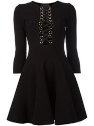 Philipp Plein Lace Up Neck Flared Dress Black