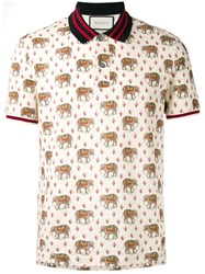 Gucci Elephant Print Polo Shirt Nude Neutrals