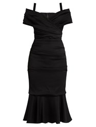 Dolce And Gabbana Off The Shoulder Jersey Midi Dress Black