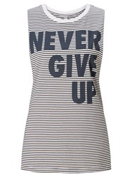 Lorna Jane Montana Never Give Up Tank Top Black White Grey