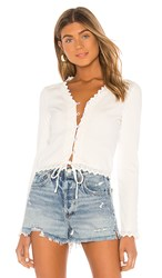 Line And Dot Arcadia Lace Trim Top In White.