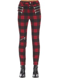 Unravel Triple Zipped Plaid Skinny Pants Red