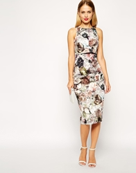 Asos Autumnal Blossom Print Crop Top Midi Pencil Dress