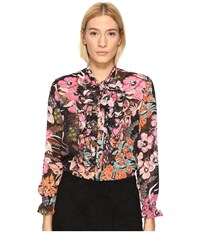 Just Cavalli Flower Power Print Long Sleeve Shirt Black Variant Women's Clothing Multi