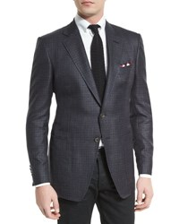 Tom Ford O'connor Tattersall Silk Blend Sport Jacket Navy