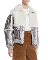 See By Chloe Metallic Leather Shearling Bomber Jacket Gray Brown