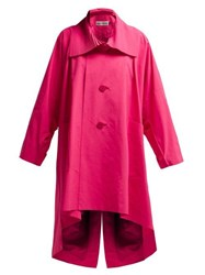 Issey Miyake Oversized Pleated Collar Canvas Overcoat Pink