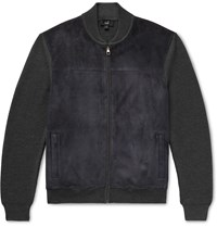 Dunhill Suede Panelled Ribbed Merino Wool Bomber Jacket Blue