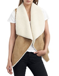 Velvet By Graham And Spencer Faux Shearling Open Front Vest Camel