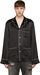 Dolce And Gabbana Black Silk Pyjama Shirt