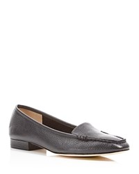 Bettye Muller Grained Leather Loafers Black