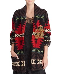 Ralph Lauren Shawl Collar Intarsia Cashmere Wool Cardigan W Embroidered Crest Detail Black Red