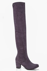 Boohoo Block Heel Stretch Knee High Boot Grey