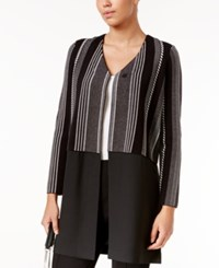 Alfani Contrast Sweater Coat Only At Macy's Graphic Stripe Black