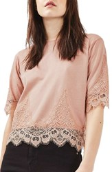 Topshop Women's Lace Trim Tee Blush