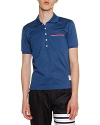 Thom Browne Heather Polo Shirt With Striped Pocket White
