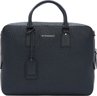 Burberry Navy Pebbled Leather Ormond Briefcase